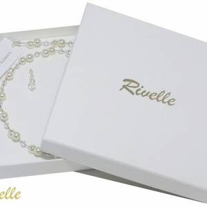 Braut Kette Perlen weiß creme, 925 Silber, Swarovski Strass, Geschenkbox, Perlenkette mehrreihig, Halskette mit Perlen Bild 6