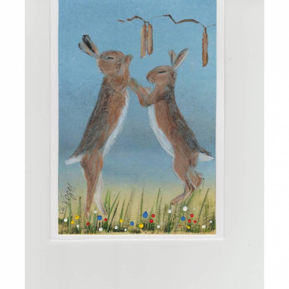 """Grußkarte,  Vermählungskarte ( humorvoll)-    """" Hasenhochzeit """" handgemalt Bild 1"""