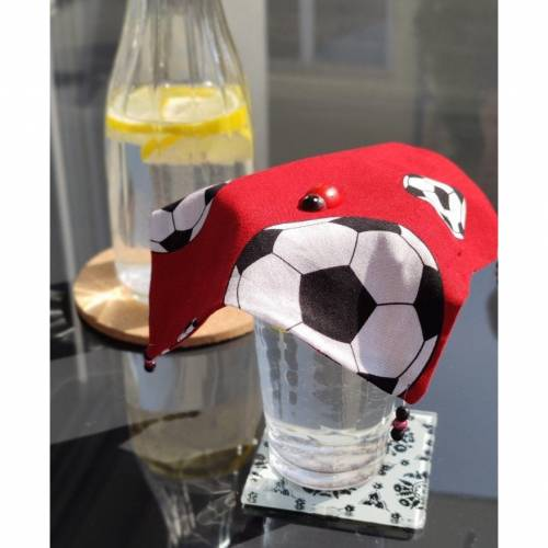 Gläserdeckchen, Gläserdeckel, Wespenschutz, Gläserabdeckung, Baumwolle, Fußball, rot