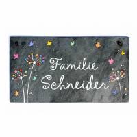 Schiefertürschild Pusteblumen Schmetterlinge Pastellfarben Wunschname Handbemalt Bild 2