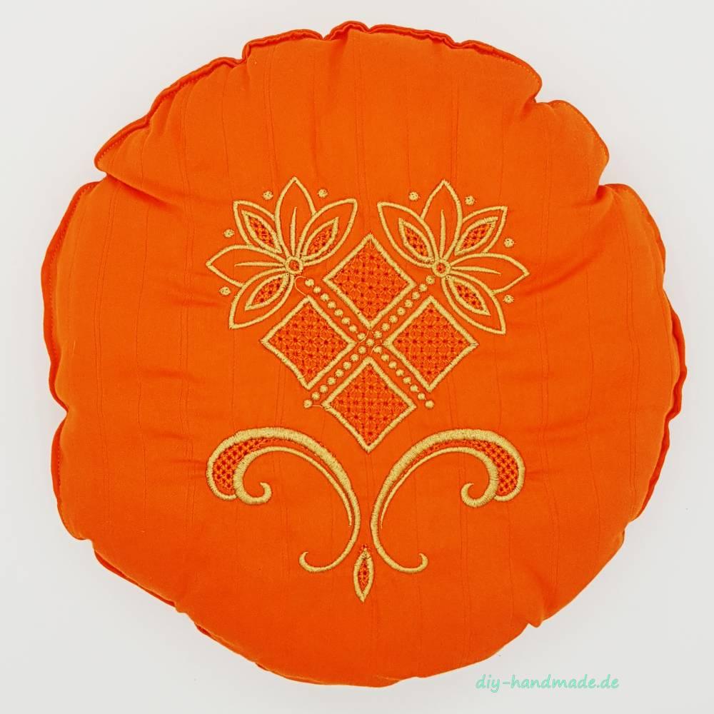 rundes Kissen für Yoga oder Meditation, orange bestickt in gold, Ø 30 cm, Unikat, Geschenk,  Bild 1