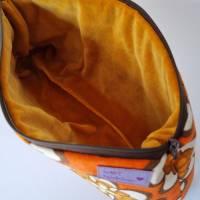 Kosmetiktasche *Vintage-Stoff 70er - 2 Blumen* Größe M, in orange-weiß-braun von he-ART by helen hesse Bild 5