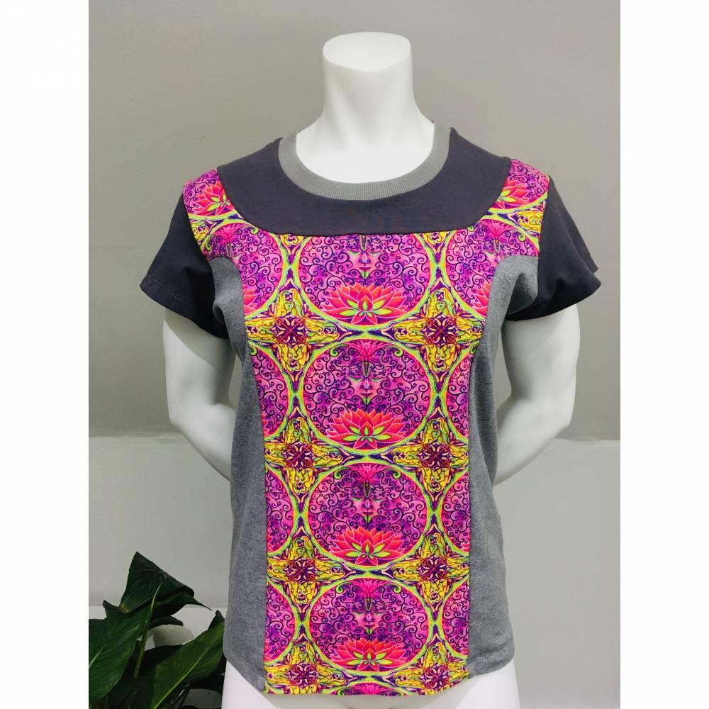 Farbenfrohes Designer T-Shirt _ Eco Fashion Art Print *Seerose* pink/grau_100% Biobaumwolle _Organic Kurzarm sportlich Bild 1
