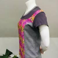 Farbenfrohes Designer T-Shirt _ Eco Fashion Art Print *Seerose* pink/grau_100% Biobaumwolle _Organic Kurzarm sportlich Bild 4