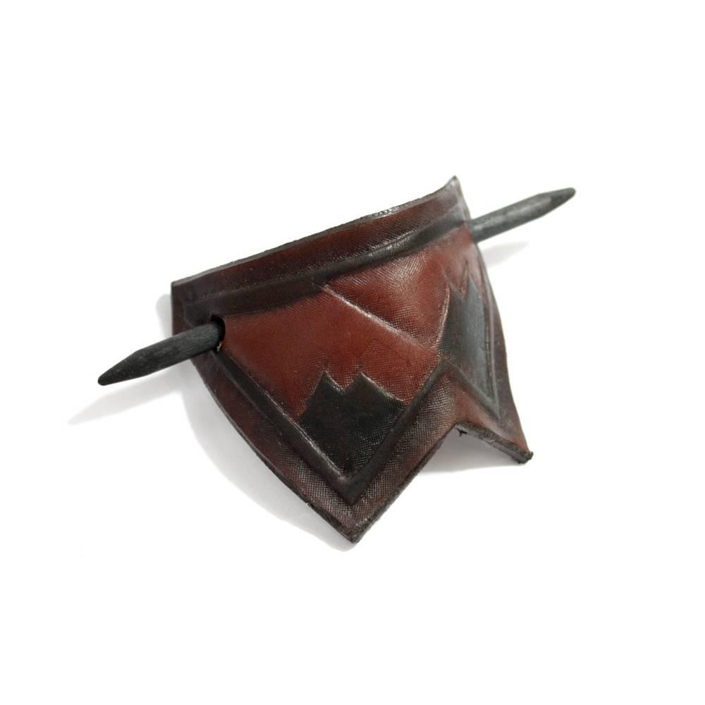 Handgefertigte Haarspange aus Leder, Leder Haarklammer, Einzelstück, handgefertigt, wild, rustikal, ethno, Hippie, Goa,  Bild 1