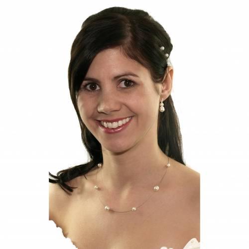 Perlen Kette Hochzeit, Perlen weiß creme, 925 Silber, Edles Schmucketui, Braut Perlenkette, Halskette Perlen Collier