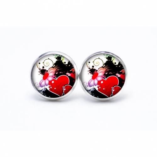 Ohrstecker Valentinstag rote Herzen mit Blume Liebe - verschiedene Größen - Edelstahl - Geschenkidee Just Trisha
