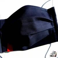 Behelfsmaske mit biegsamen Nasenteil waschbar 100% Baumwolle Gesichtsmaske *business* dunkelblau Bild 1