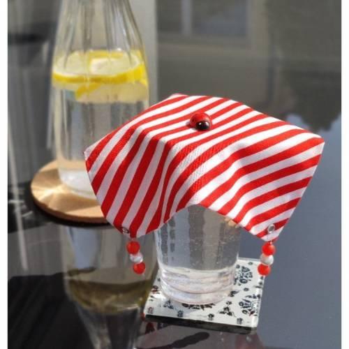 Gläserdeckchen, Gläserdeckel, Wespenschutz, Gläserabdeckung, Baumwolle, gestreift