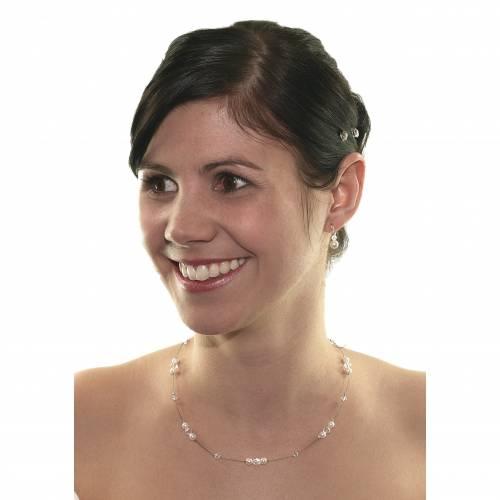 Braut Kette mit Perlen weiß creme, 925 Silber, Swarovski Steine, Schmucketui, Perlenkette Hochzeit, Perlencollier