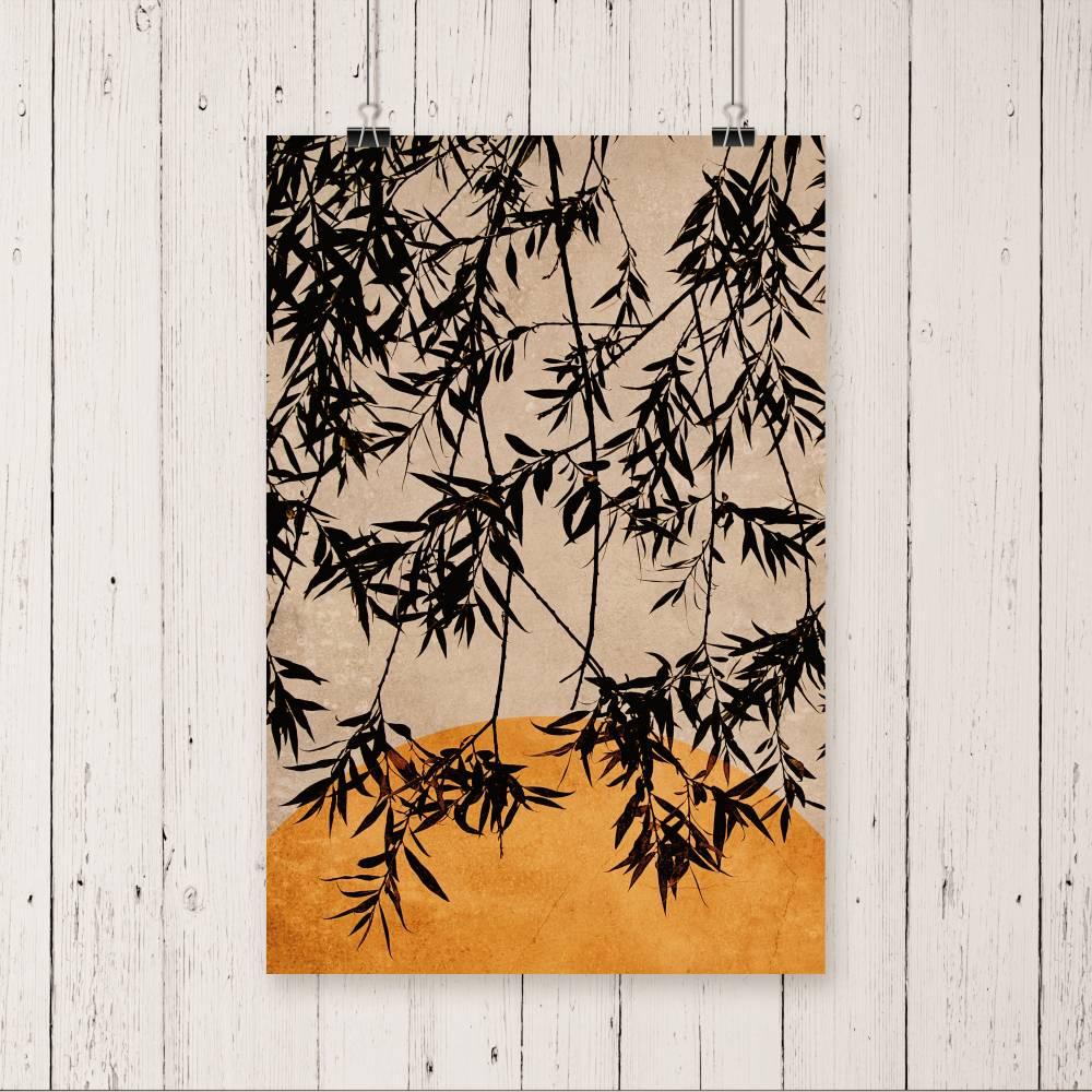 Fotografie & Illustration Blätter eines Baumes vor der untergehenden Sonne in Rostorange, Hintergrund Trendfarbe 2021 Bild 1