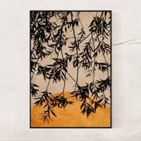 Fotografie & Illustration Blätter eines Baumes vor der untergehenden Sonne in Rostorange, Hintergrund Trendfarbe 2021 Bild 2