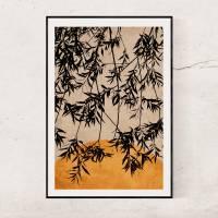Fotografie & Illustration Blätter eines Baumes vor der untergehenden Sonne in Rostorange, Hintergrund Trendfarbe 2021 Bild 3