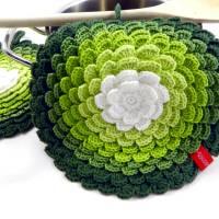 Topflappen *Blume* gehäkelt (1 Paar) *No. 11* 100% Baumwolle Bild 1