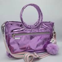 Flippige Tasche aus fliederfarbenem Mirror-Kunstleder mit runden Griffen  Bild 1
