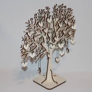 Hochzeitsbaum, Fingerabdruckbaum, Erinnerungsbaum, Holz Baum mit Herzanhängern Bild 3