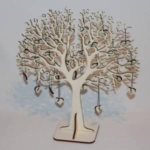 Hochzeitsbaum, Fingerabdruckbaum, Erinnerungsbaum, Holz Baum mit Herzanhängern Bild 4