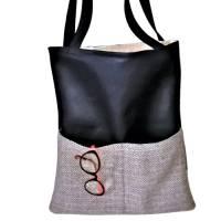 Beuteltasche, Einkaufsbeutel, Kunstleder schwarz Bild 1