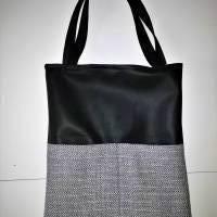 Beuteltasche, Einkaufsbeutel, Kunstleder schwarz Bild 2