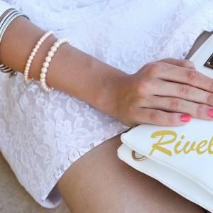 Perlenarmband edel, Perlen weiß creme, Swarovski Kristalle, Stretcharmband Perlen, Hochzeit Armband Braut, Brautschmuck Bild 6