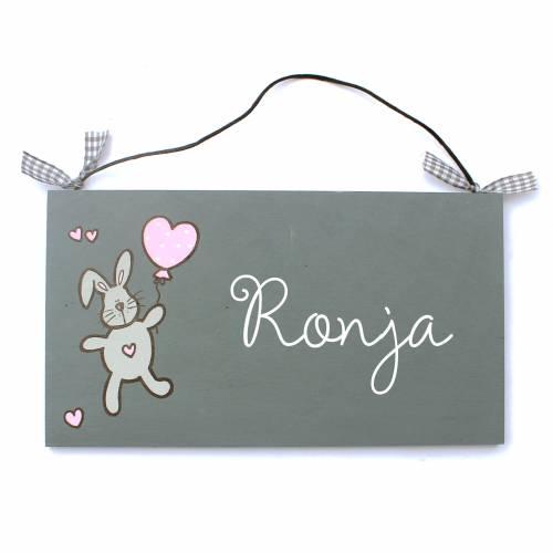 Türschild Namensschild Häschen mit Ballon Kind Türhänger Wunschtext Kinderzimmerdeko