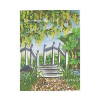 Gartenbrücke Aquarellbild handgemalt 40 x 30 cm in Hochformat Bild 1