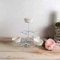 Cupcake Halter weiß aus Metall, Cupcake Ständer, Muffin Halter, Küchendeko, Landhaus, Floristikdeko Bild 1