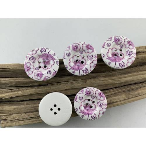 5 Holzknöpfe * 30 mm * weiß * lila Blumen * lila Blumenranke * Blumenranke * flieder * bedruckt * weiße Knöpfe * Scrapbo