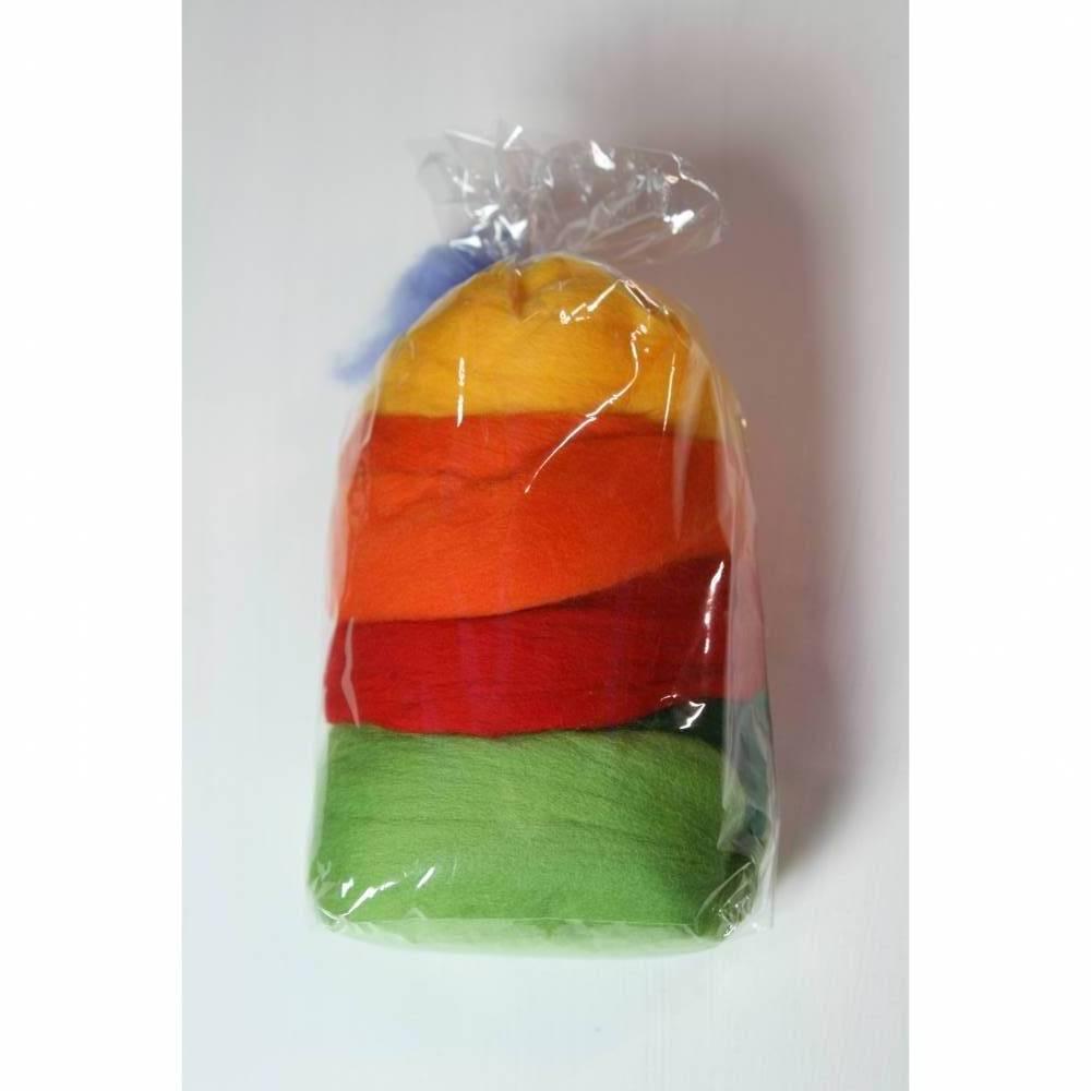Bunte Frühlingsfarben - Merinowolle im Kammzug zum Filzen mit der Filznadel oder mit Wasser und Seife Bild 1