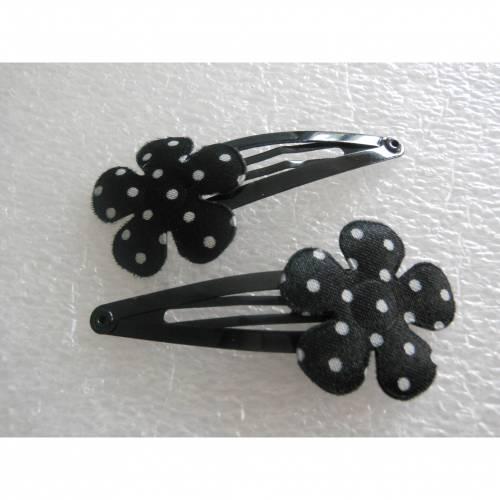 Blümchen  Stoff polka dots Haarklammern, Paar, schwarz , weiss