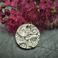 Massiver Silber-Anhänger mit eingeprägten Ammoniten, 999 Silber, rund Bild 3