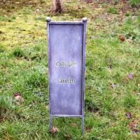 Blumenstecker Metall, Gartenstecker, Gartenstele, grau, Carpe Diem, Gartendeko, Floristikdeko Bild 1