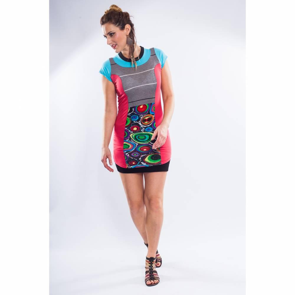 Farbenfrohes Designer Kleid _ Fashion Art Print _100% Baumwolle _Jersey T- Shirt Kurzarm sportlich Bild 1