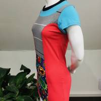 Farbenfrohes Designer Kleid _ Fashion Art Print _100% Baumwolle _Jersey T- Shirt Kurzarm sportlich Bild 6