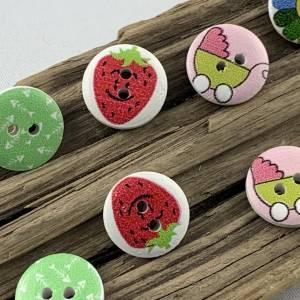 10 Holzknöpfe * mit Erdbeeren, Kinderwagen, Blumen, Gräten und Herz bedruckt * Holz * 15mm * Scrapbooking * Motivknöpfe  Bild 2