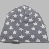 Kinder-Winter-Mütze, Long-Beanie mit Sternen, warme Wendebeanie, Jersey mit Fleece gefüttert, Gr 53/54/55/56/57cm Bild 5