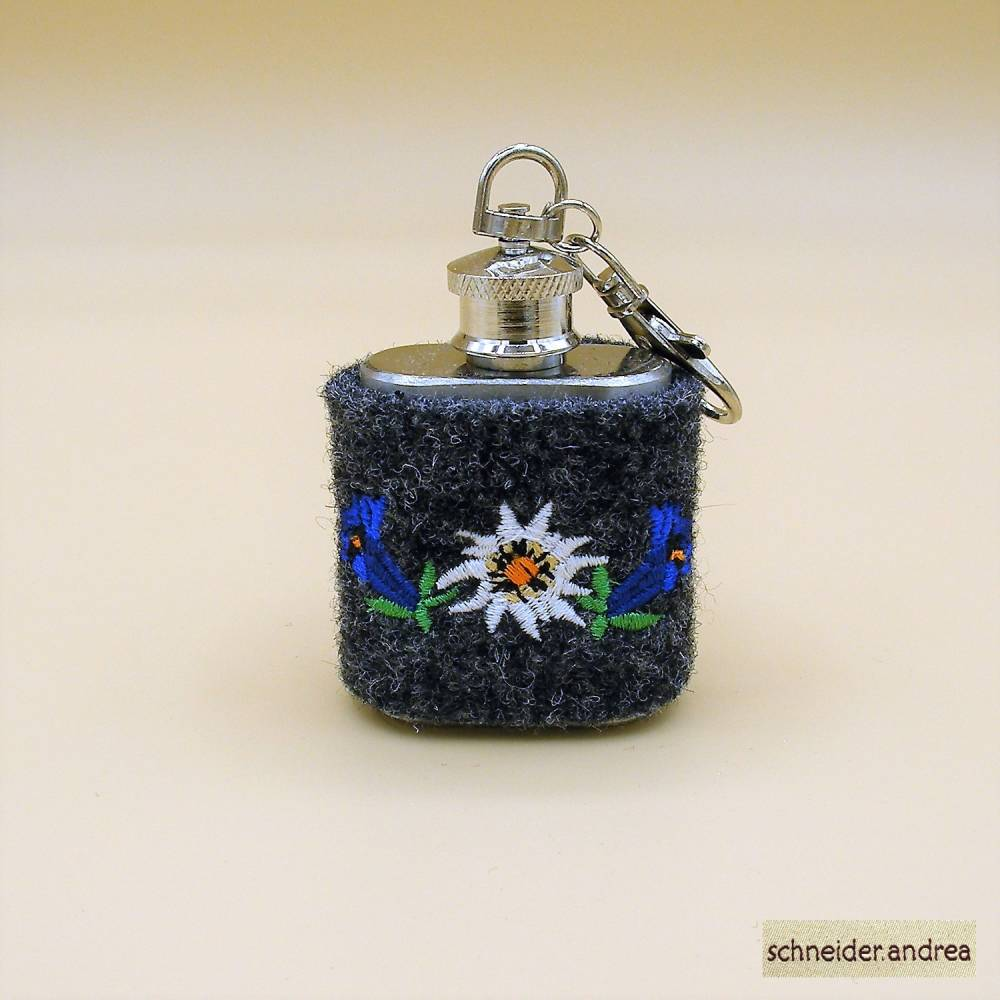 Mini - Flachmann mit bestickter Filzmanschette ENZIAN Bild 1