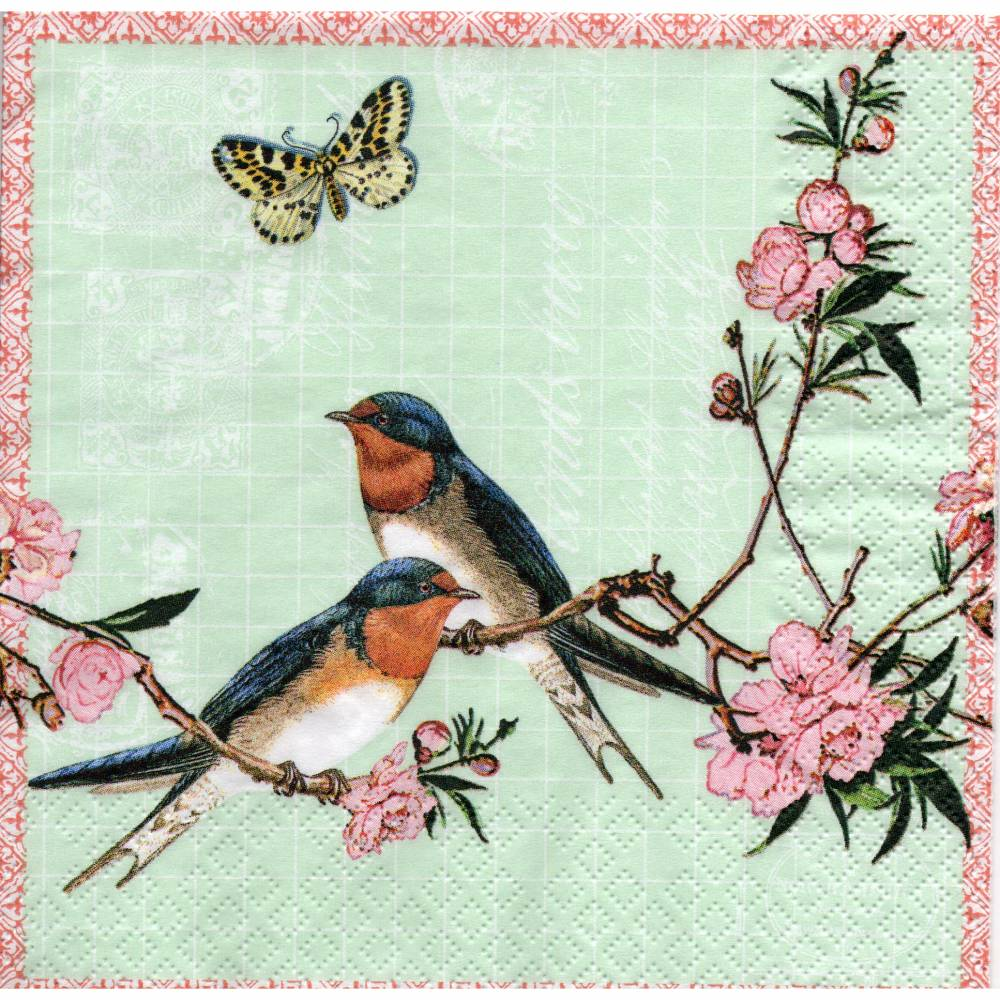 5 Servietten / Motivservietten  /  Schwalben / Blumen / Schmetterling / Vogel Motive V344 Bild 1