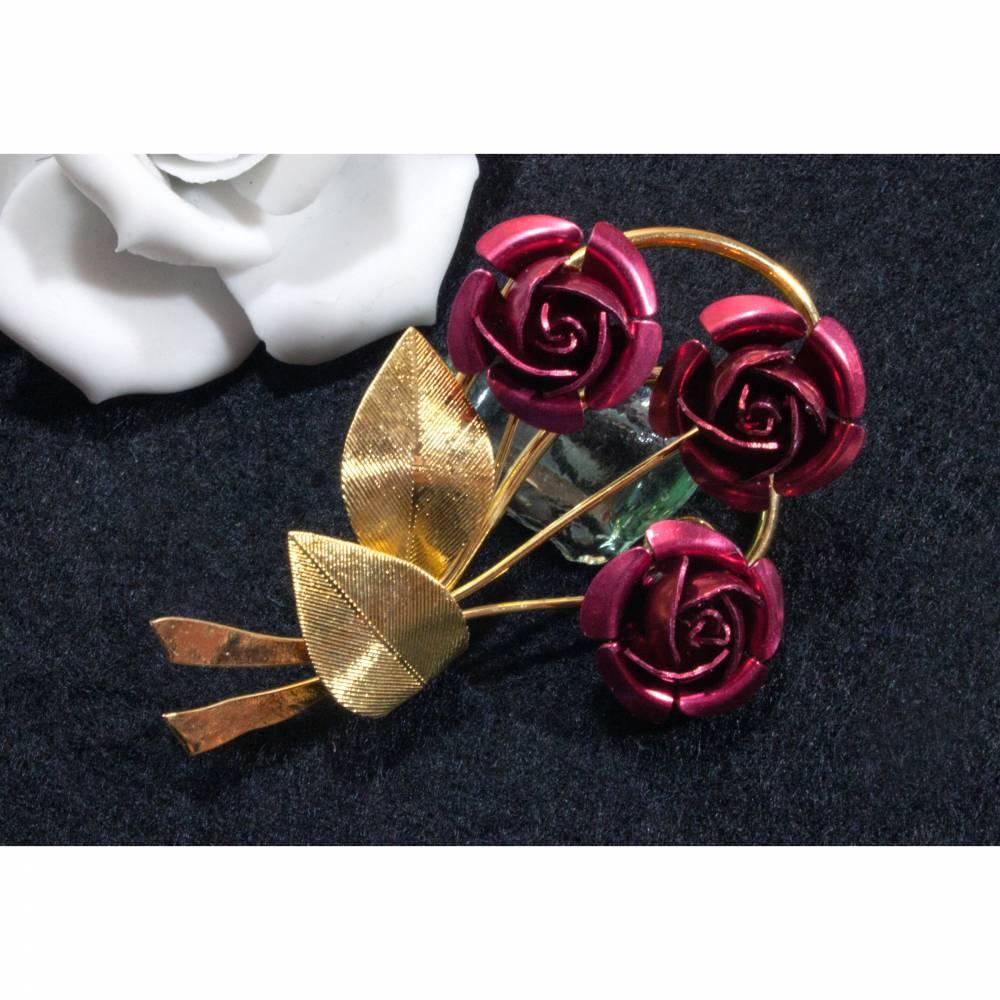 Vintage Brosche Rose aus den 50er, 60er Jahren, goldfarben, rot, alte Brosche, Vintage Hochzeit, fifties, sixties,  Trö Bild 1
