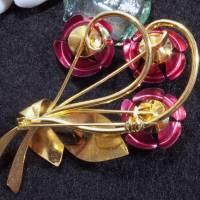 Vintage Brosche Rose aus den 50er, 60er Jahren, goldfarben, rot, alte Brosche, Vintage Hochzeit, fifties, sixties,  Trö Bild 2