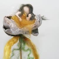 2 Stk. Holzblumen Palm Cup weiß gewaschen, Länge ca. 40 cm Bild 3