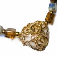 Collier mit Herz aus Bergkristall  und Jaspis in wirework goldfarben Danke Erzieherin Lehrerin Bild 1