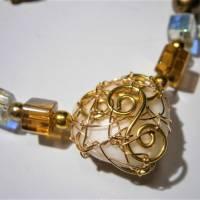 Collier mit Herz aus Bergkristall  und Jaspis in wirework goldfarben Danke Erzieherin Lehrerin Bild 3