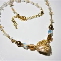 Collier mit Herz aus Bergkristall  und Jaspis in wirework goldfarben Danke Erzieherin Lehrerin Bild 4
