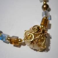 Collier mit Herz aus Bergkristall  und Jaspis in wirework goldfarben Danke Erzieherin Lehrerin Bild 5