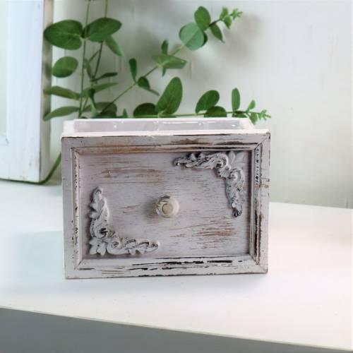 Deko Schublade, weiß, mit Eckornamenten, klein, Landhausstil, Pflanztopf, Floristikdeko