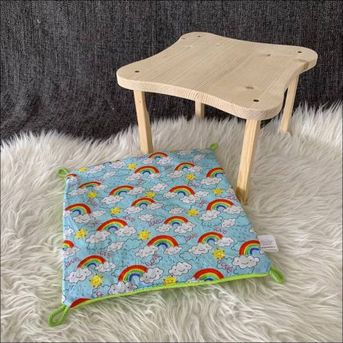 Regenbogen | Hängemattengestell mit Hängematte für Meerschweinchen, Weißbauchigel & Ratten  | ca. 30x30cm | Fleece: grün
