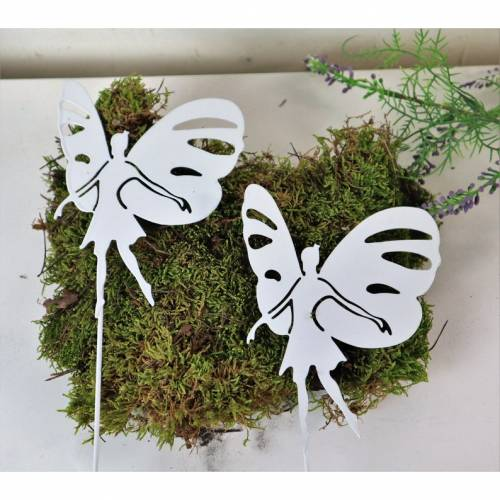 Blumenstecker Elfen, Metall weiß, Pflanzenstecker, 2er Set , Stückpreis 2,40 Euro, Floristikdeko