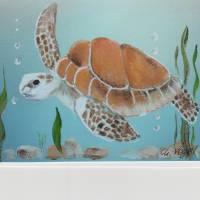 Grußkarte/ Sammelkarte-    Wasserschildkröte-  handgemalt Bild 1