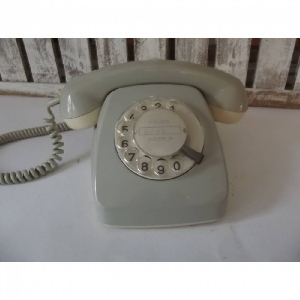 Vintage Telefon mit Wählscheibe   1960/70s Telefon beige   Deutsche Post Fernsprechgerät  Bild 1
